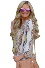 $enCountryForm.capitalKeyWord UK - New Spring Elegant Yellow Bohemian Print Long Sleeve Tassel Tie V Neck Blouses Vacation Shirts Tops Blusas Femme LC251099