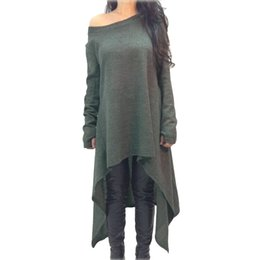 China Women 4XL 5XL Plus Size Dress Solid One Shoulder Off Shoulder Asymmetric Dress High Low Long Sleeve Loose Jumper One-Piece 2018 supplier one shoulder dress high low suppliers