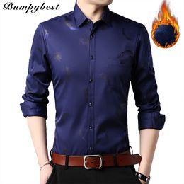 d99d4d5bf51 2018 Mens Casual Autumn Winter Shirts Dress Cotton Warm Long Sleeve  printing Shirt Male With Thick Velvet Men Brand Shirt Camisa
