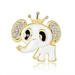 Discount clothing for wedding man Elephant Crown Animal Brooches Clothes for Women Men Banquet Wedding Metal Scarf Rhinestone Brooch Pins Jewelry