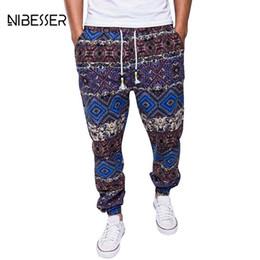 b96582c4e0a NIBESSER Pantalones étnicos de los hombres con cordón impreso Jogger  Pantalones Algodón de lino Pantalones de chándal ocasionales de la ropa más  el tamaño ...