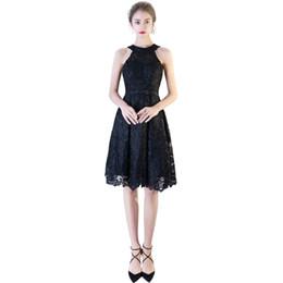 Elegant Jewel Neck Cocktail Dress UK - Jewel Neck Lace Cocktail Dresses Black Burgundy Summer Knee Length Party Dress New Formal Dresses Elegant