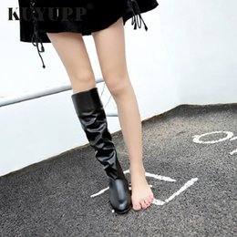Sexy Winter White Ladies Boot NZ - Plus Size 10.5 Sexy Long Women Boots Winter Female Knee-high Boots Ladies Winter Shoes Women PU Leather Slip On High Botas KVT54