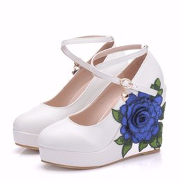 Wedge Wedding Women Shoes Canada - Women Wedges Shoes Blue Lace Flower High Heel Lady Pumps Party Shoes 11CM Heel Wedding Shoes