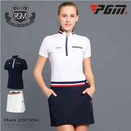 ladies golf clothes 2019 - PGM golf clothing ladies golf skirt T-shirt summer breathable shorts discount ladies golf clothes