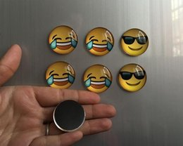 Magnet stickers for kids online shopping - New Home Glass Dome Round Cute Smile Emoji Face Expressions Refrigerator Sticker Fridge Magnet For Kids Message Holder Home Decor