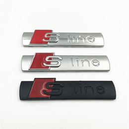 White Sticker Film Australia - 10pcs lot 3D black silver  silver and matte Metal S line Car fender Emblem Badge Sticker for audi A4 A6 Q5Q7A3A5A4LA6LA8L