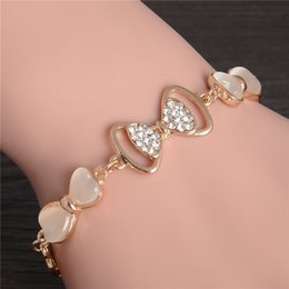 Opal Crystal Beads Australia - ZOSHI Gold Stellux Austrian Crystal Opal Beads Bow Style Charm Bracelets For Women Friendship Link Chain Bracelets Bangel