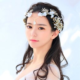 Wholesale Forehead Lace Flowers Rhinestone Pearl Bridal Crown Headband Handmade Tiaras Wedding Hair Accessories Jewelry for Girls Women