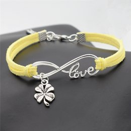 $enCountryForm.capitalKeyWord NZ - New Fashion Silver Infinity Love Four Leaf Clover Plant Flower Pendant Charm Bracelets For Women Men Yellow Leather Suede Rope Jewelry Gifts