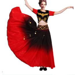 5114812f3fe3 Gradient Flamenco Dance SET Top Skirt gold Coin spanish Dancing performance  Costume women vestido flamenco 360 Degree PLUS SIZE