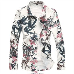 $enCountryForm.capitalKeyWord Canada - 2018 Autumn New Men's Floral Shirt Printing Bamboo Long Sleeve Colorful Shirts Mens Clothes Trend Casual Flower Camisa Masculina
