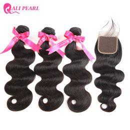 AliPearl Hair 100% Human Hair Bundles With Closure 3 Bundles Peruvian Body Wave Weaving NaturalBlack Non Extension on Sale
