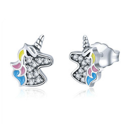 b4b877830 925 Sterling Silver Unicorn Horn Stud Earrings For Women Zircon Girls'  Elegant Earrings Allergy Free