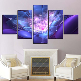 Canvas Art Prints Flowers NZ - HD Prints Poster Home Decoration Framework 5 Pieces Abstract Purple Flowers Paintings Modular Canvas Pictures Living Room Wall Art