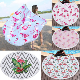 Chinese  Round Flamingo beach towel Microfiber Beach Picnic Blanket Yoga Mat 150cm Cover Up Maternity Beach Shawl Wrap GGA229 10pcs manufacturers