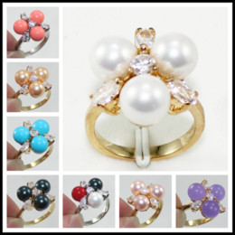 Discount indian jade ring - Fashion 18K Gold Plated 8mm South Sea Shell Pearl  Jade Ring Women Rings