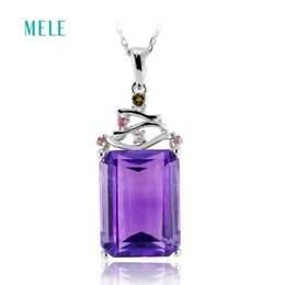 China MELE Natural amethyst silver pendant, 12mm*16mm, Africa amethyst, deep color and inclusion inside, big and fashion design supplier inside fashion design suppliers