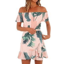 Wholesale Polyester Dress NZ - Womens Hawaiian Dresses Off The Shoulder Floral Short Sleeve Summer Beach Dress Print dress with a smell summer dresses