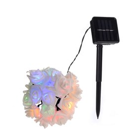 $enCountryForm.capitalKeyWord UK - Solar Outdoor Rose Flower String Lights Lampada Lamp Luminaria Light for Wedding Xmas Light New Year Home Decoration Wholesale Dropship