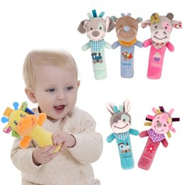 Baby Hand Rattles Wholesale NZ - Adorable Animals Hand Bells Musical Baby Soft Toys Developmental Rattle Bed Children Kids Toys Birthday Gifts Funny Gadgets