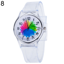 Wholesale Silicon Watches UK - Transparent Clock Kids Women Colorful Silicon Dial Jelly Quartz Analog Wrist Watch Sport Casual Crystal Ladies fashion Watch