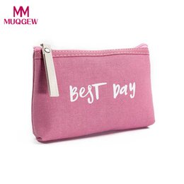 Discount handbag making kit - 12cm*3cm*18cm Women Letters Cosmetic Bag for Make up Zipper Holders Handbag Kit Maquiagem Travel Organizer