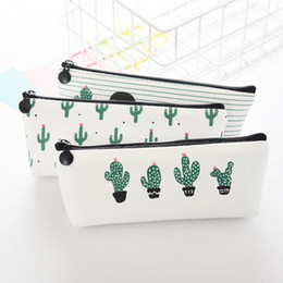 Wholesale fabric pens for sale - Group buy Creative Cactus Pencil Case Purse Canvas Portable Pen Money Wallet Stripe Zipper Pouch Pocket Keyring Gift Kawaii Pencil Bag