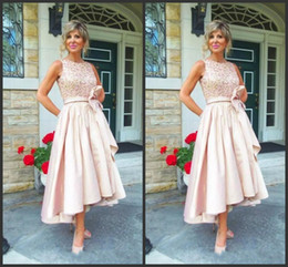 d6b16e68110 2018 New Jewel Draped Sequined Satin Tea Length Champagne Wedding Guest Dress  Mother Dresses High Low Mother Of The Bride Dresses