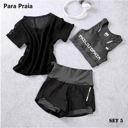 Conjunto de Yoga de cintura alta de tres piezas Ropa deportiva para mujer Sujetador deportivo Ropa de fitness Mujer Shorts deportivos Gym Workout Crop Top en venta