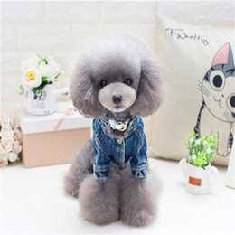Discount cowboy apparel Puppy Clothes Cowboy Jacket Dog Apparel Poodle Teddy Dress Cartoon Autumn Winter Cloth Pet Supplies Bardian Fashion 22jz