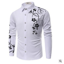 long collar shirts NZ - Autumn Men's Casual Shirts Fashion European and American Printed Turn Down Collar Floral Long Sleeve 180814-01