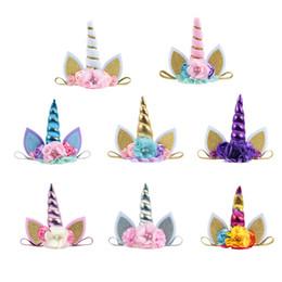 Discount birthday photography - Cute Unicorn short horns Headbands Hairband Beads Cat ears Birthday Party Flowers Hair Accessories Photography 2018 8 co
