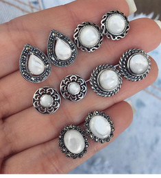 Wholesale Bohemia Fashion Opal Studding Pairs For One Earring Set Big White Stone Fashion Design Alloy Stud