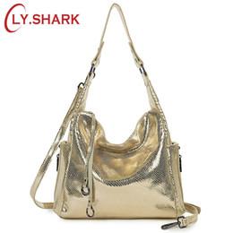 Ladies Briefcase Handbags Australia - LY.SHARK Genuine Leather Messenger Bag Women Handbag Crossbody Bag For Women Shoulder Bags Female Briefcase Ladies Tote Gold