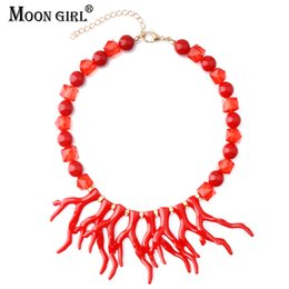 $enCountryForm.capitalKeyWord Australia - MOON GIRL Design 3 Colors Artificial Coral Choker with Beads For Jewelry Making Trendy Fashion Statement Necklace Women