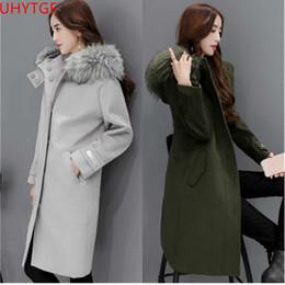 99698d3b0c9ea Winter coat ladies fur collar jacket Slim fashion warm woolen coat Large  size Autumn Winter wool coats elegant women coats 740