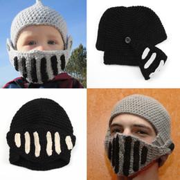 53ddad293a93a Fashion Keep Warm Men Unisex Children S Roman Knight Helmet Caps Cool Handmade  Knit Hat Winter Hats Funny Party Mask Beanies D349S