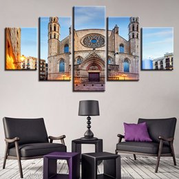 modern wall arts islamic UK - Canvas Picture Wall Art 5 Pieces Islamic Muslim Mosque Scenery Paintings Framework Modular Modern Printing Decor For Living Room