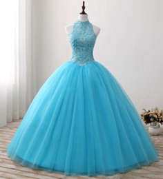 $enCountryForm.capitalKeyWord Canada - Real Halter Sky Blue Beaded Applique Lace Tulle Ball Gown Quinceanera Dresses 2018 Sleeveless Corset Sweet 15 Gowns China Debutante Dresses