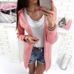 Knitted Cardigans Canada - Casual Knitting Long Cardigan Female Loose Cardigan Knitted Jumper Warm Winter Sweater Women Cardigan WS2273C