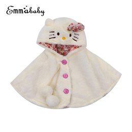 Discount girl poncho kids - Lovely Baby Girls Cat Hooded Cloak Poncho Jacket Outwear Kids Warm Coat Clothes Size 0-24M