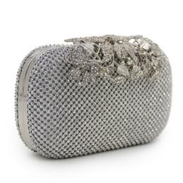 Women Bag Rhinestone Studded Flower Diamond Bags Lady Wedding Clutch Party  Purse Silver Gold Black b044719a02d8