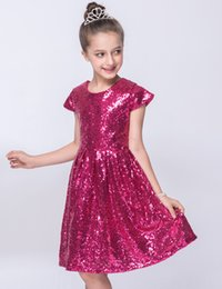 girl watches NZ - Summer children's wear girl dress European short sleeve flower children's wear watch shore birthday sequined princess dress skirt