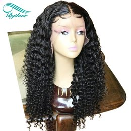 $enCountryForm.capitalKeyWord Australia - Bythair Lace Front Human Hair Wigs For Women Virgin Peruvian Deep Curly Full Lace Wigs With Baby Hair Bleached Knots Pre Plucked