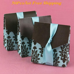 $enCountryForm.capitalKeyWord Canada - (50pcs lot) Wedding sweet box Turquoise and Brown Flourish Favor Boxes For Unique wedding ideas and Party decorations gift box
