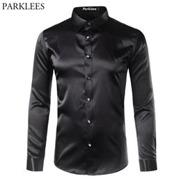 Fitted Silk Shirt Mens Canada - High Quality Silk Satin Shirt Men Chemise Homme 2017 Casual Long Sleeve Slim Fit Mens Dress Shirts Business Wedding Male Shirt