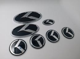 Kia Logos UK - 7pcs Set ar K Logo Sticker Decal Red   Black Steering Wheel Emblem 60mm for KIA K Center Cap Badge car styling