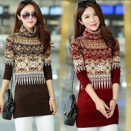 $enCountryForm.capitalKeyWord Canada - 2016 New autumn winter turtleneck sweater women warm loose long sweater dress printing jumpers