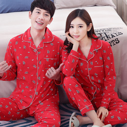 9c7bdfa4af Couple pajamas set 100% cotton pajamas red pajamas spring and autumn men  and women long sleeve sleepwear lover night suits